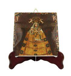 Religious art - Our Lady of Rosary - catholic icon on ceramic tile - handmade in Italy - Cuzco art - Catholic art - Virgin of Rosary - holy