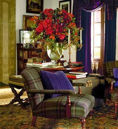 Plaid sitting room.  Sage, heathered greens. Royal purple.