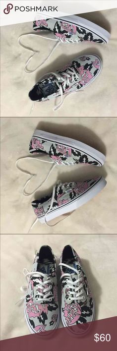 Eley Kishimoto Special Edition Vans Have to be gone before August 22nd.  Super cute with jeans and a white top.  Lightning Bolt/Tulip Design  Can ship same day if ordered before 5. Retails at $60. Never been worn.  No box !!! Price is somewhat negotiable. Vans Shoes Sneakers