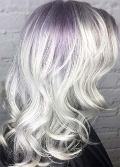 Granny Silver/ Grey Hair Color Ideas: Silver Hair With Lilac Roots