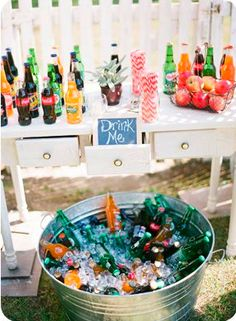 for drinks.... great idea since I already have something for this whole set up