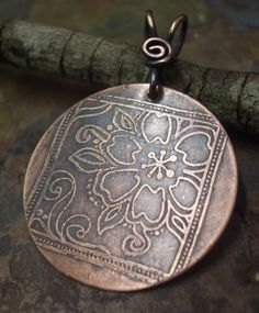 Good Luck Flowers Pendant Antiqued and by ThePurpleLilyDesigns, $14.75