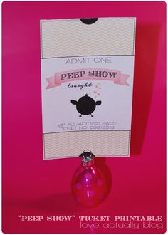 """Peep Show"" ticket for hubby! (easiest Easter ""treat"" ever! give it to him in a sleeve (free printable), in a plastic egg, or in his basket!    #freeprintable #eastergift #Easter"