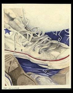 High Tops - Watercolor. Keywords: Shoes, tennies, converse, laces.