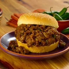 Add an Asian twist to the traditional Sloppy Joe. Ground Beef, serrano chilies, hoisin and soy sauce give this meal a worldly flavor. Meat Recipes, Cooking Recipes, Cut Recipe, Sources Of Dietary Fiber, Pear Salad, Sloppy Joes Recipe, Mongolian Beef, Sweet Pickles