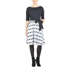 Hound dog print sash tie cotton knit dress ($60) ❤ liked on Polyvore featuring dresses, elbow sleeve dress, knee length skater skirt, knee length circle skirt, white circle skirt and button dress