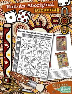 """Check out, """"Roll-An-Aboriginal-Dreaming Game - Multicultural Collage Art Activity!"""" It's a fun game you can play with your upper elementary students to create a collage/painting using neutral colors. #education #aboriginal #aborigines #australia #teacherspayteachers #arted"""