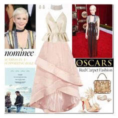 """""""Red Carpet at the Oscars Michelle Williams"""" by ellie366 ❤ liked on Polyvore featuring Dolce&Gabbana, Coast, Delpozo, Christian Louboutin, Marina J., Forzieri, BEA, GetTheLook, RedCarpet and Oscars"""