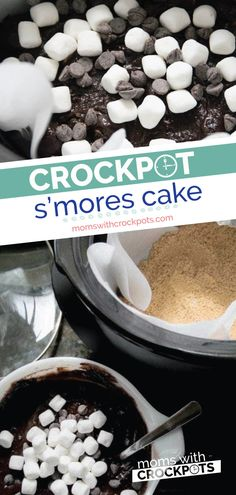 Don't turn the oven on this Summer. Bake a delicious cake right in your crockpot… Don't turn the oven on this Summer. Bake a delicious cake right in your crockpot! This Crockpot S'Mores Cake Recipe is a keeper! Slow Cooker Recipes Dessert, Crock Pot Desserts, Best Dessert Recipes, Gourmet Recipes, Crockpot Recipes, Cake Recipes, Bread Recipes, Cake Mix Desserts, Fun Desserts