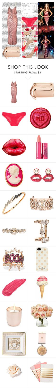 """""""It be hard to understand me cause my jaw keep lockin' I ain't even tryna talk cause my jaw keep lockin' She ain't tryna be a freak but them bands keep poppin' Still caught up in the streets And the feds still knockin'"""" by labelsoflove ❤ liked on Polyvore featuring Ashish, Balmain, Givenchy, Victoria's Secret, 100% Pure, Dollydagger, Gucci, Bee Goddess, Shourouk and Miu Miu"""