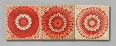 https://flic.kr/p/cFNjmf | William De Morgan red lustre tiles | Three inch Staffordshire blanks, with a variety of flower type designs, probably Chelsea or Merton Abbey period. Ex Jon Catleugh - the collector who knew his floral and early designs (and all the rest).