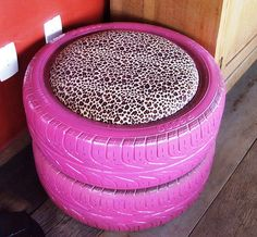 Cool idea...tire seats, only not a 'cushion' but something water proof and leave them outside around the fire pit!