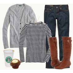 If I had to choose a uniform from my wardrobe for my everyday life, this would be it.  (Darker riding boots, though.  And no Starbucks- try Caribou or Chocolatea.)