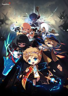 Heroes of Maple Game Concept Art, Character Concept, Character Design, Anime Chibi, Japan Illustration, Story Characters, Perler Bead Art, Cute Chibi, Cute Anime Guys