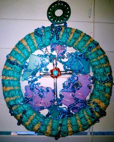 crowned cross Sun Catcher by LaurelcreationsArt on Etsy