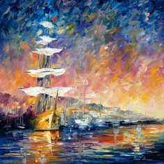 Sunset Paintings by Famous Artists   SAILBOATS IN SUNRISE — PALETTE KNIFE Oil Painting On Canvas By ...