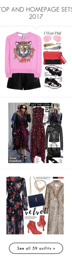 """""""TOP AND HOMEPAGE SETS 2017"""" by beebeely-look ❤ liked on Polyvore featuring Gucci, Ray-Ban, casual, casualoutfit, sneakers, breastcancerawareness, gamiss, Balenciaga, Proenza Schouler and Kate Spade"""