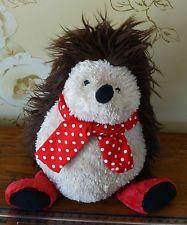 John Lewis Hedgehog Bear Fluffy Brown Beige Cream Soft Cuddly Toy Red Scarf