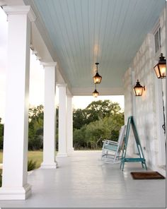 Gray painted floors and blue painted roof is typical of houses found in the Texas Hill Country.