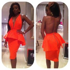 Imagine this style but with an African print fabric. OWWW watch out now. Definitely grown and sexy! Coral Dress, Orange Dress, Peplum Dress, Dress Up, Afro, Fasion, Women's Fashion, Types Of Fashion Styles, African Fashion