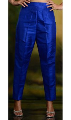 High waist cigarette pants in pure silk. Unique blue color. Available in size extra small to plus size.