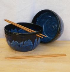 Pair of noodle or rice bowls hand thrown in stoneware ceramic pottery on Etsy, $44.43