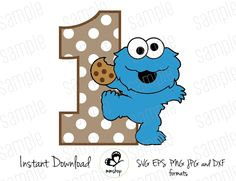 One - Baby Cookie Monster - Sesame Street - Cuttable Design Files (Svg, Eps, Dxf, Png, Jpg) For Silhouette and Cricut Cricut Birthday Cards, Baby Birthday Card, 1st Boy Birthday, Monster 1st Birthdays, Monster Birthday Parties, First Birthdays, Monster Pinata, Cookie Monster Party, Muppet Babies