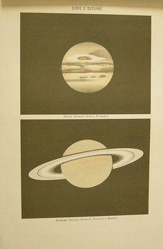 Giove e Saturno. s.d. (ma 1900). Astronomia - Pianeti - Universo - Spazio - Giove - Saturno - Stampa - Scienza