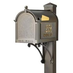 Whitehall Products, Superior French Bronze Streetside Mailbox, 16315 at The Home Depot - Mobile Diy Mailbox, Mailbox Numbers, Mailbox Ideas, Residential Mailboxes, Personalized Mailbox, Unique Mailboxes, Whitehall Products, Mulch Landscaping, Home Free