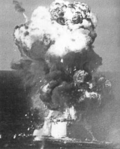 Explosion aboard USS Colombia after being struck by a Japanese Army Sonia Ki-51 special attack aircraft, Lingayen Gulf, Philippine Islands, 6 Jan 1945