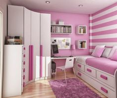 dormitorio pequeño y rosa para chica