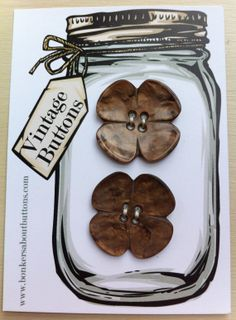 Vintage set of 2 Brown Marbled 4 LEAF by bonkersaboutbuttons, £4.00