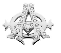 Alpha Phi Badge - This modern lazy phi Alpha Phi badge is white gold and pearls and can be worn by the collegiate or alumnae chapter president.