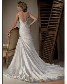2013 sexy Brautkleid aus Satin von Perlen verzierteter tiefer V-Ausschnitt und geraffter A-Linie Rock