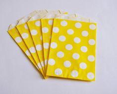10 Sacchetti di carta pois giallo / Yellow Polka Dots Paper Bags (10 paper bags per pack)