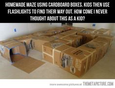 Kids will love this homemade CARDBOARD MAZE! Just grab some old boxes, tape to stick them together  a torch to use when they wiggle through. Check out these other fun activities too: http://www.under5s.co.nz/shop/Hot+Topics/Activities.html