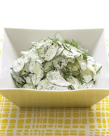 Cucumber Salad with Sour Cream and Dill Dressing - Martha Stewart Recipes. Cucumber, sour cream, dill, lemon - what's not to love? Creamy Cucumber Salad, Creamy Cucumbers, Dill Dressing, Dressing Recipe, Think Food, Love Food, Sour Cream, Martha Stewart Recipes, Cooking Recipes