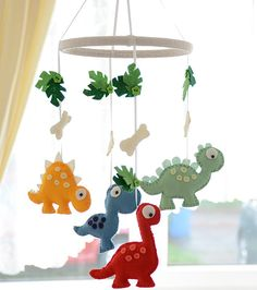 Nursery Mobile Baby Dinosaur Mobile Felt by FlossyTots on Etsy