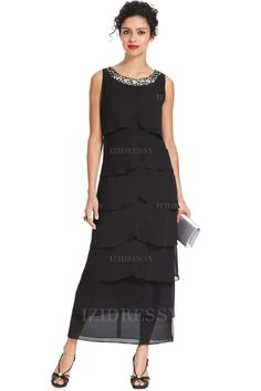 Sheath/Column Jewel Ankle-length Chiffon Mother of the Bride Dress
