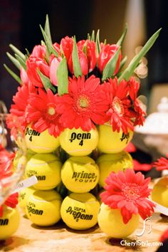 Creative centerpiece using tennis balls