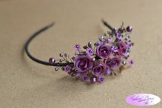 Purple small roses cristal wreath. Purple asymmetrical by Vualia