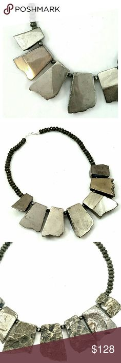 """♥HP♥Stunning Handmade Pyrite Statement Necklace Gorgeous show stopping genuine Pyrite gemstone necklace, amazing dressed up for the holidays or a casual Bohemian look on a white tshirt and jeans!!  ♥Genuine Pyrite gemstone ♥Sterling silver closure ♥18"""" length, largest stone is 1.75"""" long ♥Reversible, smooth or textured ♥Handcrafted in Georgia  One of a kind!!!! Boutique  Jewelry Necklaces"""