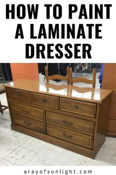 How to paint laminate furniture and make the paint stick! You can paint laminate thrift finds, bedroom furniture and more with these furniture makeover paint tips. Redo your old dresser into a farmhouse style, shabby chic, or modern furniture even if it has laminate, formica, or plastic on it. You can even paint Ikea furniture with these furniture painting tips. #furnituremakeover #painteddresser #redofurniture