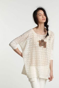 cream lace tee by Norwegian Wood (from Anthropologie's Made In Kind project)