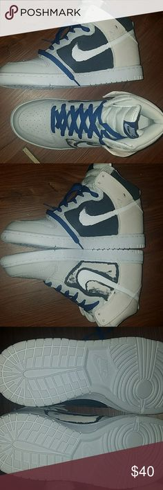 Nike dunk size 9. Offers welcome. Unworn, bad custom attempt. Size 9. Canvas/leather    These would be for a custom or skating. . More pics available if you really want these. Nike Shoes Sneakers