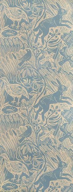 Harvest Hare Wallpaper per roll Excellent lino print wallpaper with Mark Hearld rabbit and bird design in lead blue. Harvest Hare Wallpaper per roll Excellent lino print wallpaper with Mark Hearld rabbit and bird design in lead blue. Textile Patterns, Print Patterns, Motif Floral, Fabric Wallpaper, Bird Wallpaper, Large Print Wallpaper, Animal Print Wallpaper, Bird Design, Surface Pattern Design