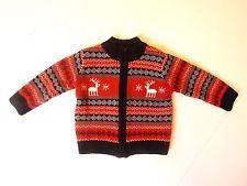 Baby Girls Koala Baby Fair Isle Cardigan Sweater Red White Black 12 Size Months