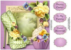 This lovely 8x8 square quick topper features fabulous eccentric shoes and cupcake and is embellished with gorgeous yellow roses and an easter chick. It has three greetings and a blank greetings tile.  Also available as a three page mini kit.