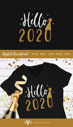 Hello 2020 Svg New Years Eve Svg New year Shirt New Year image 0 New Year Clipart, New Years Shirts, Star Clipart, New Year Offers, New Years Outfit, Cricut, Vinyl Shirts, Happy New Year 2020, Silhouette Studio