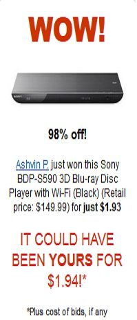 Sony Blueray Disc Player with Wi-FI for $1.93 Wow!